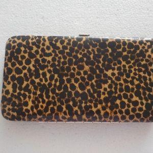 Leopard Print Hard Clutch/Wallet